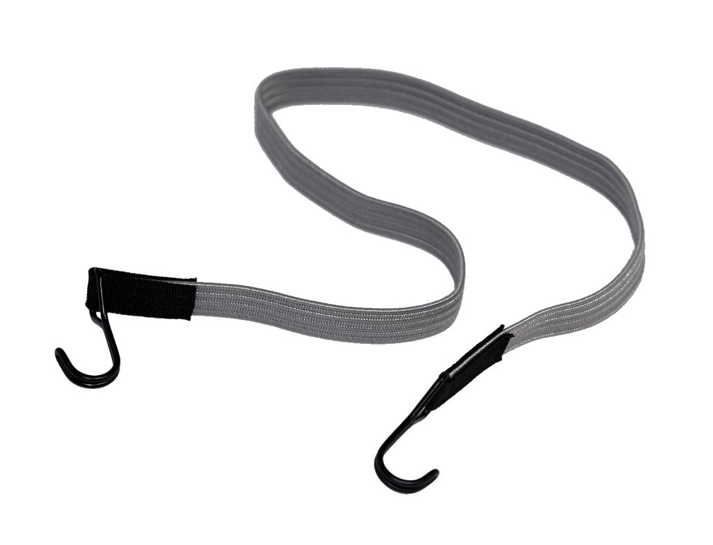 Flachgummiband mit 2 Doppelhaken 100cm Grau 10 Stück