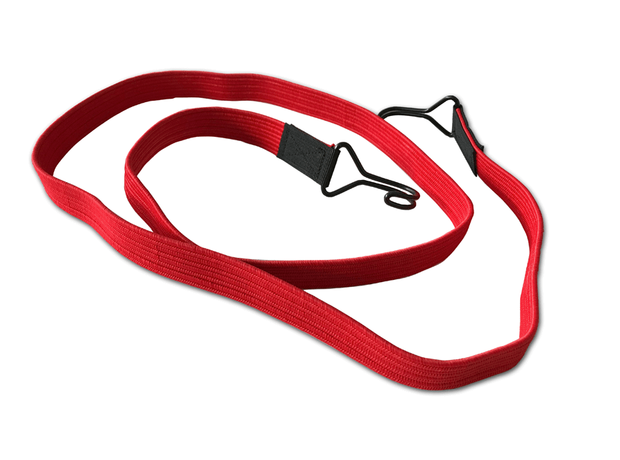 Flachbandgummis mit 2 Doppelhaken 150cm Rot
